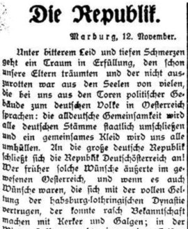 Marburger Zeitung, 13. November 1918