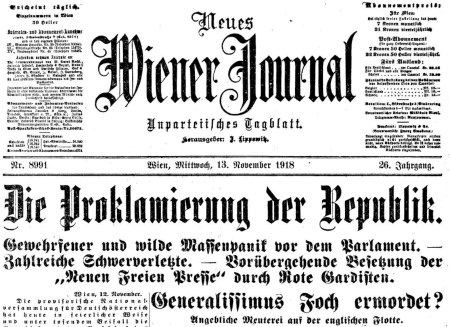 Neue Wiener Journal, 13. November 1918