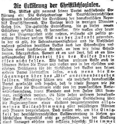 Reichspost, 13. November 1918